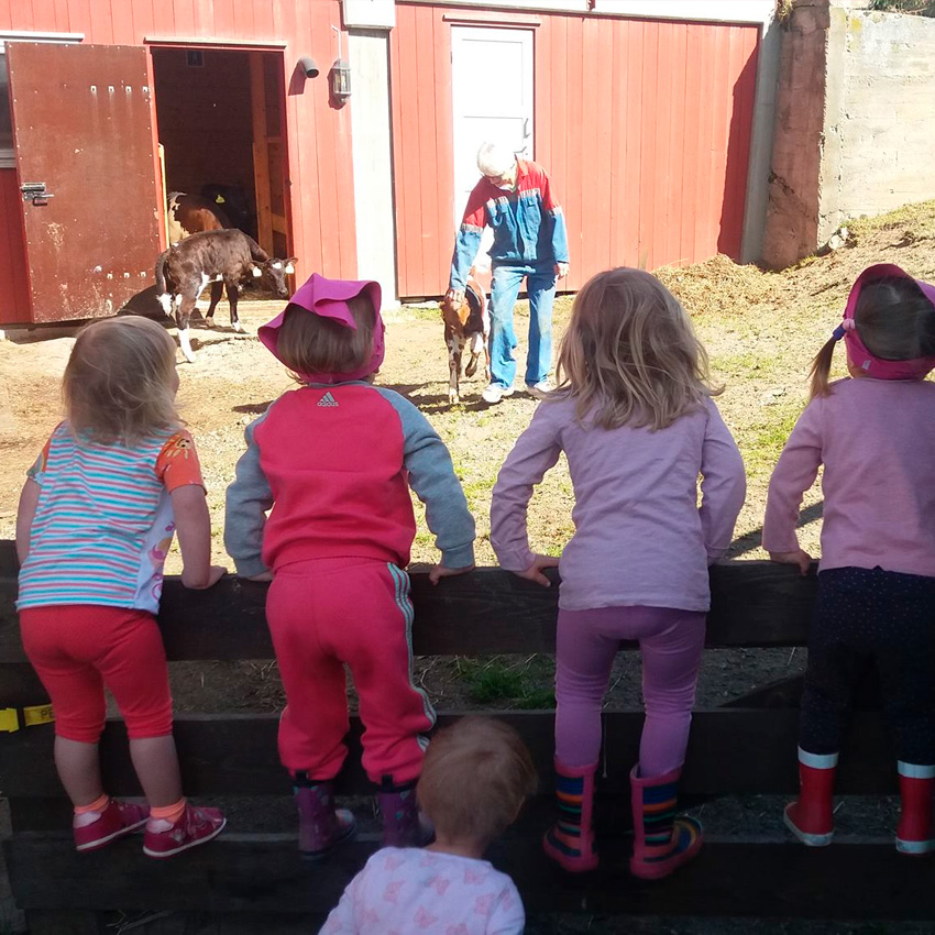 Barnehagen på gårdsbesøk. Foto: Os Kommunale Barnehage